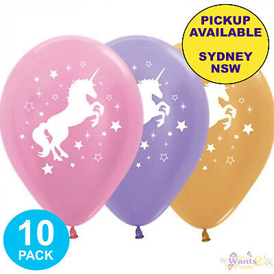 AU9.95 • Buy Unicorn Party Supplies 10 Latex Pink Purple Gold Balloons Birthday Decorations