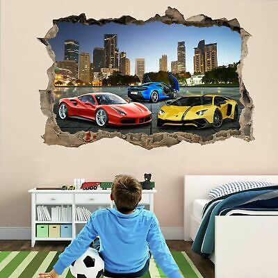 £14.99 • Buy Super Sports Cars Wall Stickers Mural Decal Poster Self-adhesive Print Art DT7