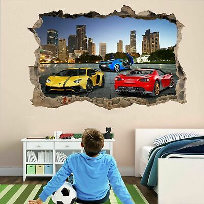£22.99 • Buy Super Sports Cars Wall Stickers Mural Decal Poster Self-adhesive Print Art DT15