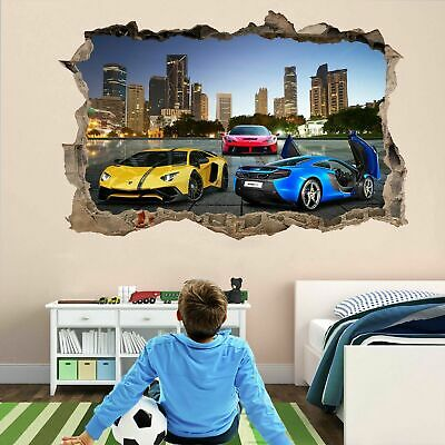 Super Sports Cars Wall Stickers Mural Decal Poster Self-adhesive Print Art DT19 • 22.99£