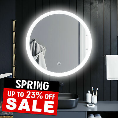 Round LED ILLUMINATED Bathroom Mirror 800mm Demister Touch Control • 84.99£