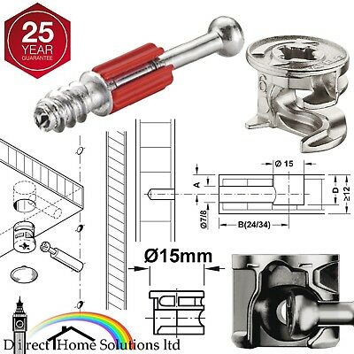 HAFELE MINIFIX Ø15mm CAM LOCK BOLTS & FIXING DOWELS FURNITURE FITTINGS FLAT PACK • 4.21£