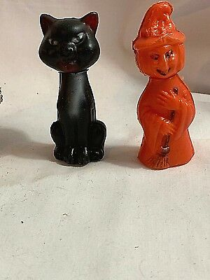$ CDN47.35 • Buy Vintage Halloween Plastic Pumpkin Head Witch & Black Cat Candy Containers SLK