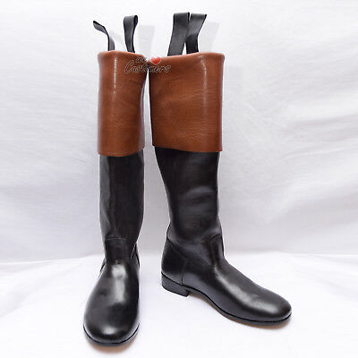 18th Century Long Cuffed/ridding Boots French Black/ Brown Real Leather Cuff-WLC • 70£