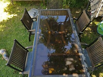 AU275 • Buy 7 Ft Clarecraft Outdoor Metal And Jarrah Wood Table Setting & 6 Matching Chairs