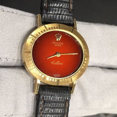$ CDN2988.92 • Buy 18K Yellow Gold Vintage Rolex Cellini With Red Dial Watch 4081
