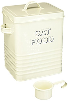 Lesser And Pavey 20cm Home Sweet Home Cat Food Storage Container, Cream • 16.22£