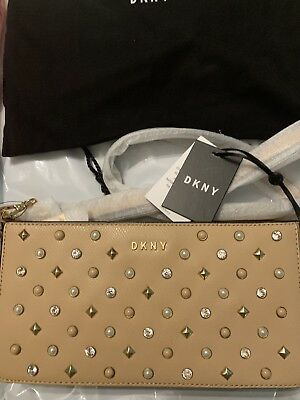 £110 • Buy DKNY  Bag BNWT Party Beige Cream Tan Natural Stones Pearl Half Gold Chain
