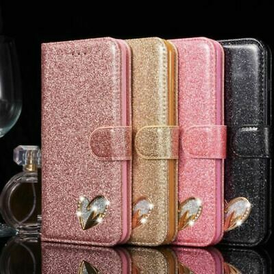 Fashion Shiny Glitter With Heart Diamond Wallet With Stand Case For Apple Iphone • 5.99£