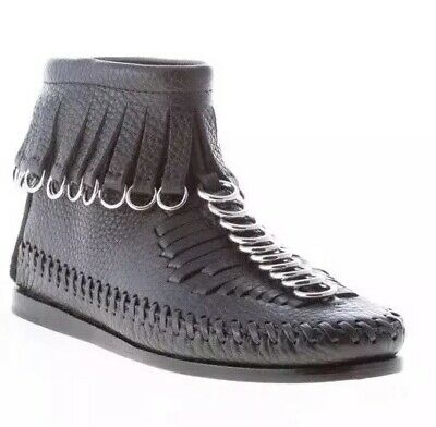 AU649 • Buy ALEXANDER WANG,Montana, Black Leather Flat Ankle Boot, Fringes & Rings, Size 37