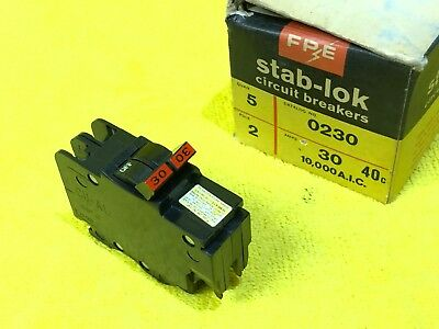 federal pacific stab-lok 2 pole 30 amp nc thin breaker fpe chipped $ave  circuit breakers & fuse boxes one