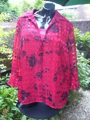 Notations Shirt & Cami Vest Red And Black Chiffon And Satin Size Xl • 6£