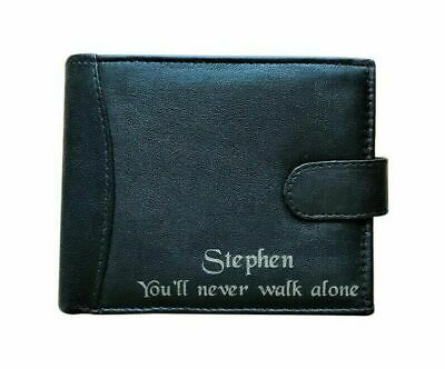 Men's Personalised Engraved Black Leather Wallet Liverpool FC Football Fans Gift • 14.99£