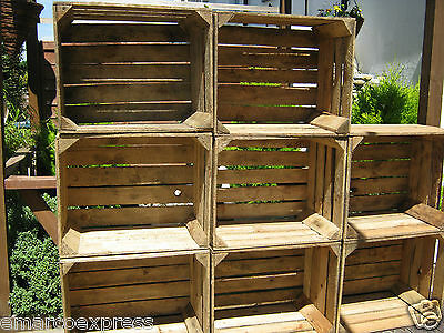 6 Wooden Crates Fruit Apple Boxes Vintage - Decor Cleaned Vintage Style • 49.58£