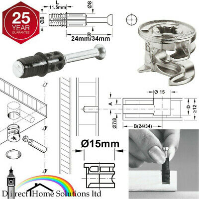 HAFELE MINIFIX C100 Ø15mm CAM LOCK BOLTS & FIXING DOWELS FURNITURE FIT FLAT PACK • 4.99£