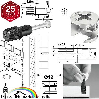 HAFELE MINIFIX C100 Ø12mm CAM LOCK BOLT & FIXING DOWEL FOR Ø10mm HOLES FURNITURE • 4.21£