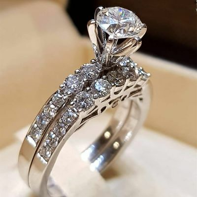 AU2.99 • Buy Elegant Women 925 Silver Jewelry Wedding Set Rings White Sapphire Ring Size 5-12