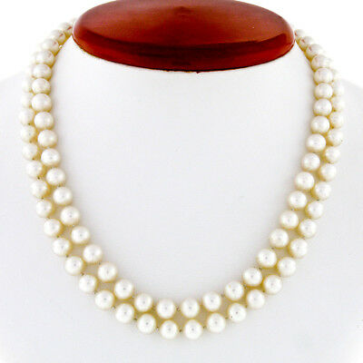 $614.24 • Buy Vintage 16  Dual Strand 6.5-7.0mm Pearl Necklace W/ 14K Gold Diamond Mabe Clasp