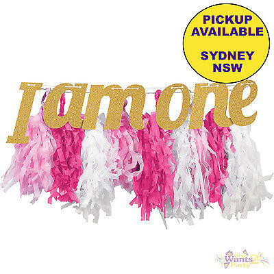 AU11.95 • Buy 1st First Birthday Party Supplies Pink High Chair I Am One Decoration Kit Banner