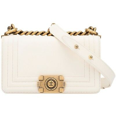 4add263490d748 Chanel White Boy Bag Lambskin Leather Small Le Boy Aged Gold Hardware  Reverso • 3,300.00$