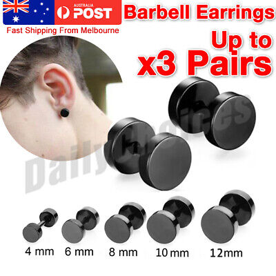 AU5.47 • Buy Pair Black Flat Round Barbell Earrings Plug Gym Mens Mm Stud 316 Stainless Steel