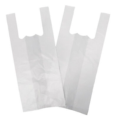 100 X JUMBO Strong Large WHITE Vest Carrier Bags 18Micron 13 X19 X23   • 5.99£