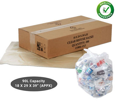 £7.49 • Buy 50 Clear Refuse Sacks 140G Strong Bin Bags Rubbish Scrap Waste Recycling Liners