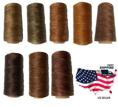 $5.99 • Buy 0.8mm 284Yards Brown Colors Flat Waxed Thread Leather Hand Sewing Stiching Cord