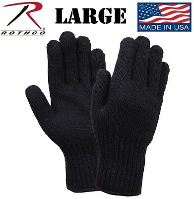 $8.98 • Buy LARGE Black 70% Wool Glove Liner Winter Cold Weather Military Gloves USA 8518
