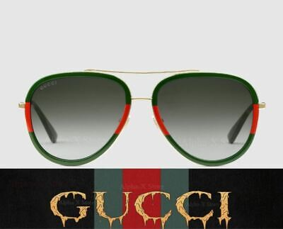 72e0d1bf67b New Gucci Aviator Metal Sunglasses GG0062S 003 Gold Green Gradient Lens  57mm •