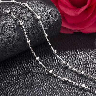 £6.64 • Buy Genuine 925 Sterling Silver Ball Bead Box Chain Necklace Various Lengths  Italy