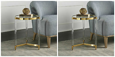 $769.12 • Buy Pair Modern Luxurious Gold Accent End Table Glass Top Acrylic Legs