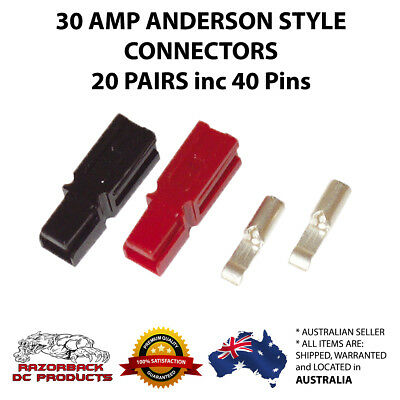 AU24.95 • Buy Anderson Style Powerpole Red & Black 30 Amp Plugs 12-16 AWG 20x Pairs