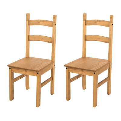 £58.99 • Buy Pair Of Dining Chairs Solid Pine Waxed Wooden Dining Room Furniture