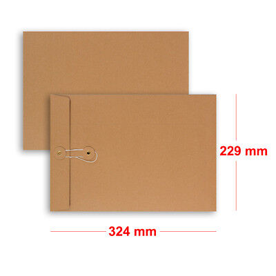 Best Quality String & Washer Strong Bottom Tie Envelopes Manilla Brown C4 Size • 21.95£