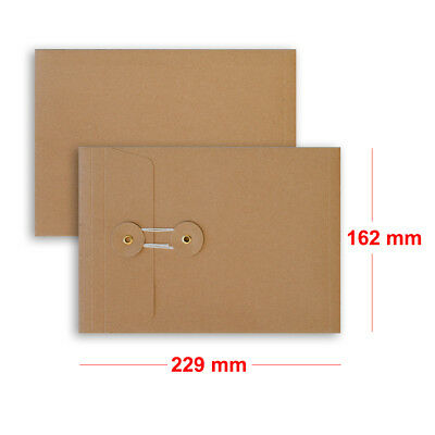 Quality String & Washer Strong Bottom&Tie With Gusset Envelopes Manilla - C5 • 19.75£