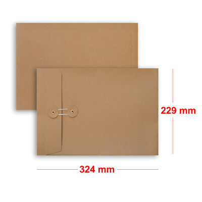 Quality String & Washer Strong Bottom&Tie With Gusset Envelopes Manilla - C4 • 7.10£