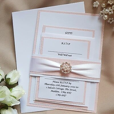 £3.20 • Buy Personalised Wedding Invitation Sets Baby Pink Glitter Rose Gold White Lizzy