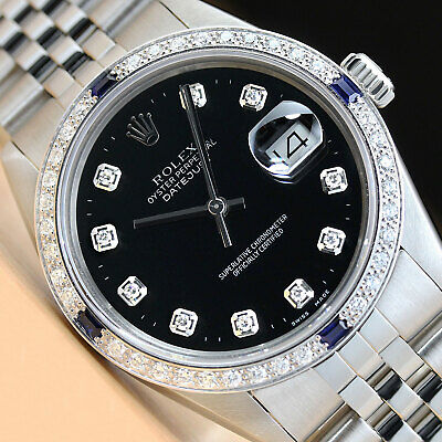 $ CDN6379.83 • Buy Mens Rolex Datejust 16014 Black Diamond Sapphire 18k White Gold & Steel Watch