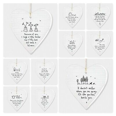 East Of India Wobbly White Porcelain Heart With Sayings Sign Friends Gift 10cm  • 6.49£
