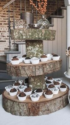 £99 • Buy Three Tiered Rustic Wooden Wedding Cake/ Cup Cake Stand, 16 /17  Base