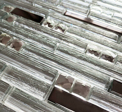 Light Silver Foil Rectangle Chrome Steel Metal Jewel Glass Mosaic Wall Tiles 8mm • 8.98£