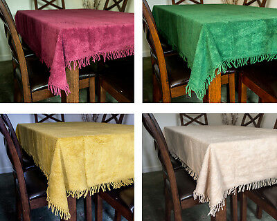 Chenille Tablecloth Traditional Tufted Cotton Luxury Fringing 5 Colours 4 Sizes • 26.99£