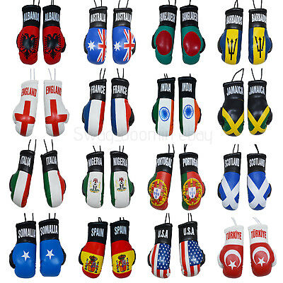 Car Office Boxing Gloves HANGING DECORATION Leather MINI GLOVE Country Flags  • 2.99£