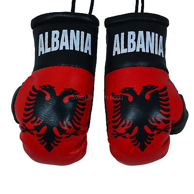 Van CAR Boxing Gloves Hanging ALBANIA Decoration Flag Mirror Office Accessory  • 4.99£