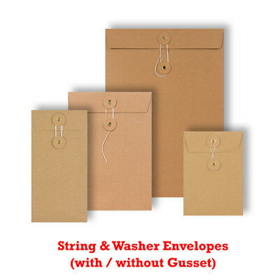 Quality String & Washer Strong Bottom Tie Envelopes Manilla All Sizes Brown • 4.61£