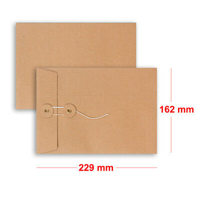 Brown String & Washer Bottom-Tie Envelopes Manilla C5 Size Cheap & Fast Delivery • 5.45£