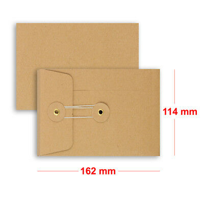 Brown String & Washer C6 - 162x114 Mm Bottom&Tie With Gusset Envelopes Manilla • 5.05£