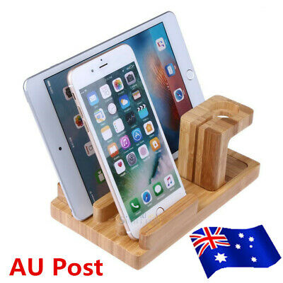 AU26.99 • Buy 4 Port Bamboo Charging Dock Station Charger Holder Stand For Apple Watch