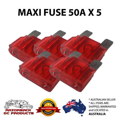 AU8.75 • Buy 5 X  50 Amp MAXI  BLADE FUSE 50A, 50AMP  FREE POST